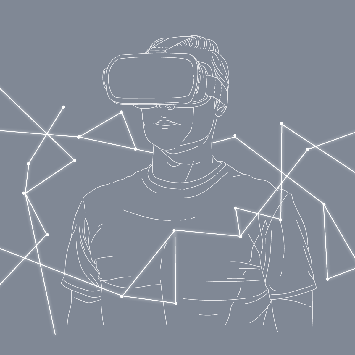 Boy with virtual reality headset illustration